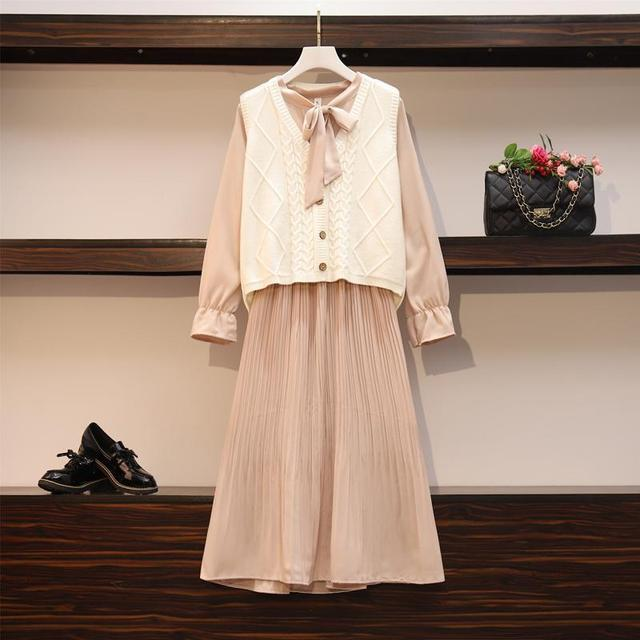 2020 New Girl Style One Piece Suit Dress, Women's Autumn and Winter Show Thin Long Sleeve Pleated Medium Length Shirt Dress 6