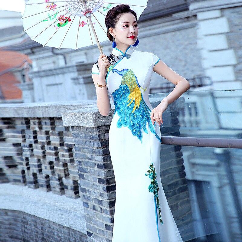Fashion Dress Long Cheongsam Oriental Womens Wedding Short Sleeve Party Qipao Chinese Style Elegant Robe Clothes Vestido