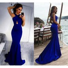 Royal Blue Mermaid Prom Dresses Cheap 2019 vestidos de gala Sexy Open Back Imported Party Dress Formal Women Evening Gowns