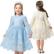 Зимнее платье для девочек одежда с длинными рукавами для маленьких девочек Детские платья для девочек, кружевное платье с цветочным узором для дня рождения, повседневная одежда для детей возрастом 7 лет