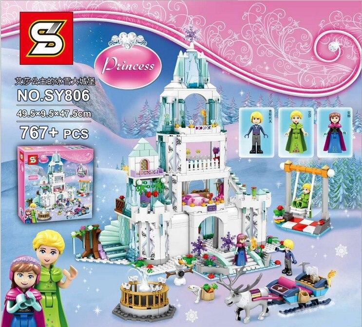 2019 fiaba della principessa della Neve regina di ghiaccio blocco di costruzione del castello Legoinglys Elsa E Anna olaf Kristoff figure giocattoli dei mattoni-in Blocchi da Giocattoli e hobby su  Gruppo 1