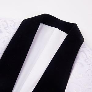 Image 3 - PYJTRL New 4 Pieces Set Wedding Groom Shawl Lapel Jacquard Tuxedo Pink Yellow Black Red Pure White Slim Fit Prom Dress Suits Men