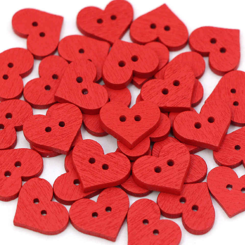 Vintage Wooden Buttons Sewing Clothes Kids Scrapbook DIY Craft Wedding Decor Peach Hearts 20mm Pack of 100