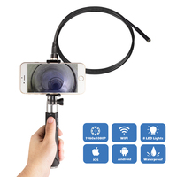 WIFI Handheld Endoscope 8mm 8LED 1m snake Hard Cable Waterproof borescope Android IOS Endoscopio Inspection Camera gift box