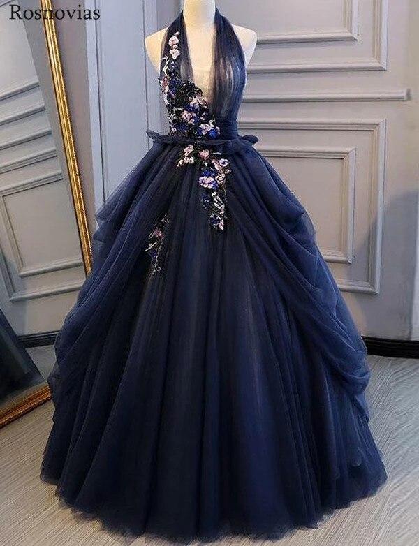 Luxe une ligne Quinceanera robes 2019 col en V profond à lacets retour balayage Train main faire des fleurs bal robes de soirée pour doux 16