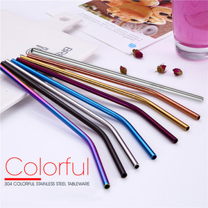 Reusable Metal Straws with Silicone Tip & Travel Case & Cleaning Brush Kit Stainless Steel Drinking Straw Party Bar accessory