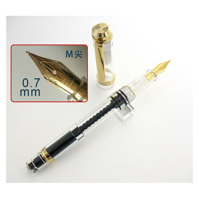 2020 Model Wing Sung 698 Transparent Piston Fountain Pen Medium Nib Business Stationery Office school supplies Writing Gift