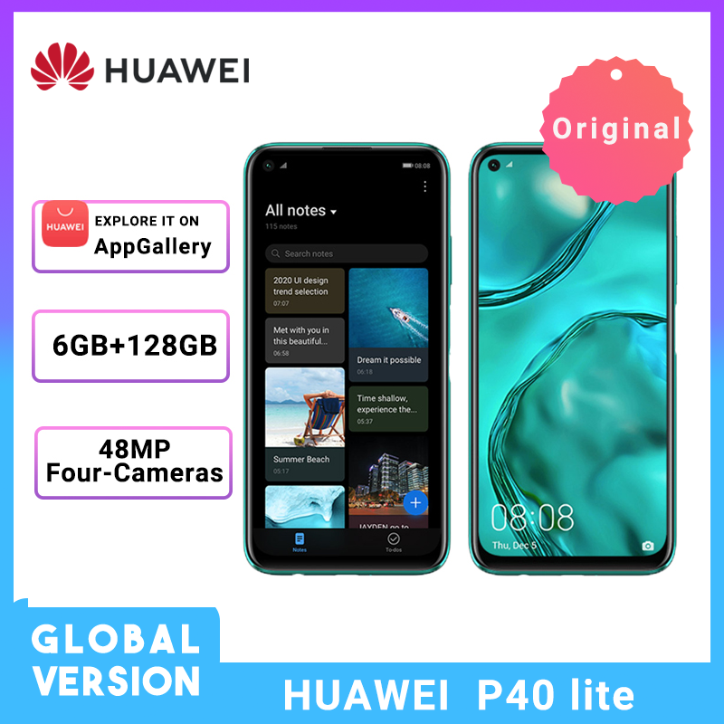 Huawei P40 Lite Global Version 6GB 128GB Smartphone 6.4'' FHD Scree 48MP AI Cameras Kirin 810 Octa Core 40W QC