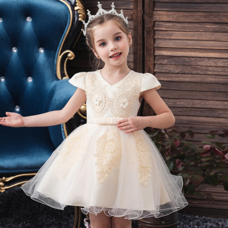 Formal Lace Baby Princess Bridesmaid Flower Girl Dresses Kid Wedding Party 2#