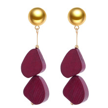 wing yuk tak Vintage Geometric Wood Drop Earrings For Women Fashion Simple Long 2019 Jewelry Wholesale