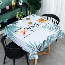 Toalha de mesa quadrada de pano de mesa impermeável do pvc para a casa, folha tropical nórdica cozinha capa de mesa decoração de festa em casa esteira