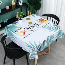 Table-Cloth Tropical-Leaf Square Waterproof Party-Decoration Kitchen Nordic Home PVC