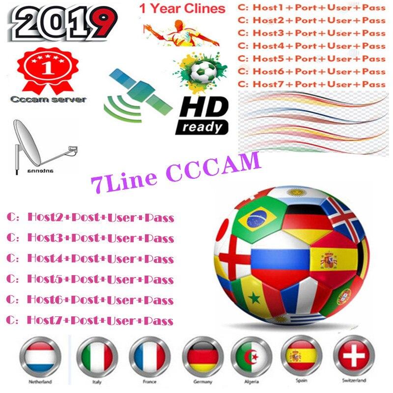 Cccam 7Clines сервер для 1 год Европа Испания ES DE IT для DVB-S2 рецептор спутниковый приемник для Freesat V8 V9 Super V7 HD