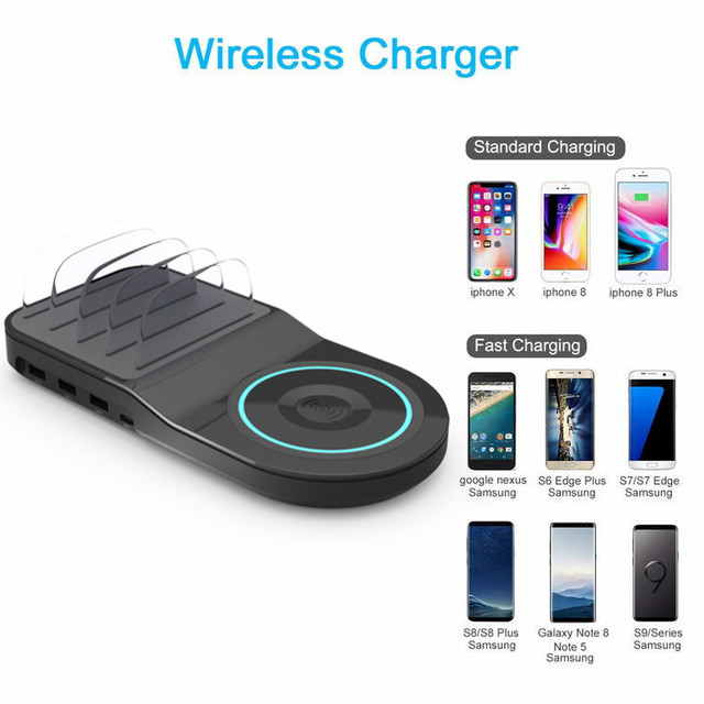 YHONH Fast Wireless Charger For iphone Samsung Qc 3.0 Quick Charge Multi Usb Port Charging Dock Station Desk Phone Holder  Stand