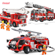 Technic CAR Compatible Legoed City Fire Truck Ladder Building Blocks The Rescue Toys for Children Xingbao 03028 03029 03031(China)