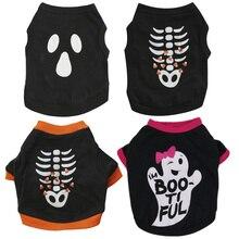 цена на New Halloween Pet Clothes Cotton Black Print Grimace Dog Vest Costume Fish Bone Pet T Shirt Christmas Cat Dog Jersey