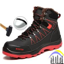 2020 zimowe nowe męskie buty niezniszczalne buty ze stalowymi palcami Anti-Smashing Anti-Stab buty ochronne praca na zewnątrz buty tanie tanio ROvnsHE Pracy i bezpieczeństwa CN (pochodzenie) Mikrofibra ANKLE Mieszane kolory Dla dorosłych Krótki pluszowe Okrągły nosek