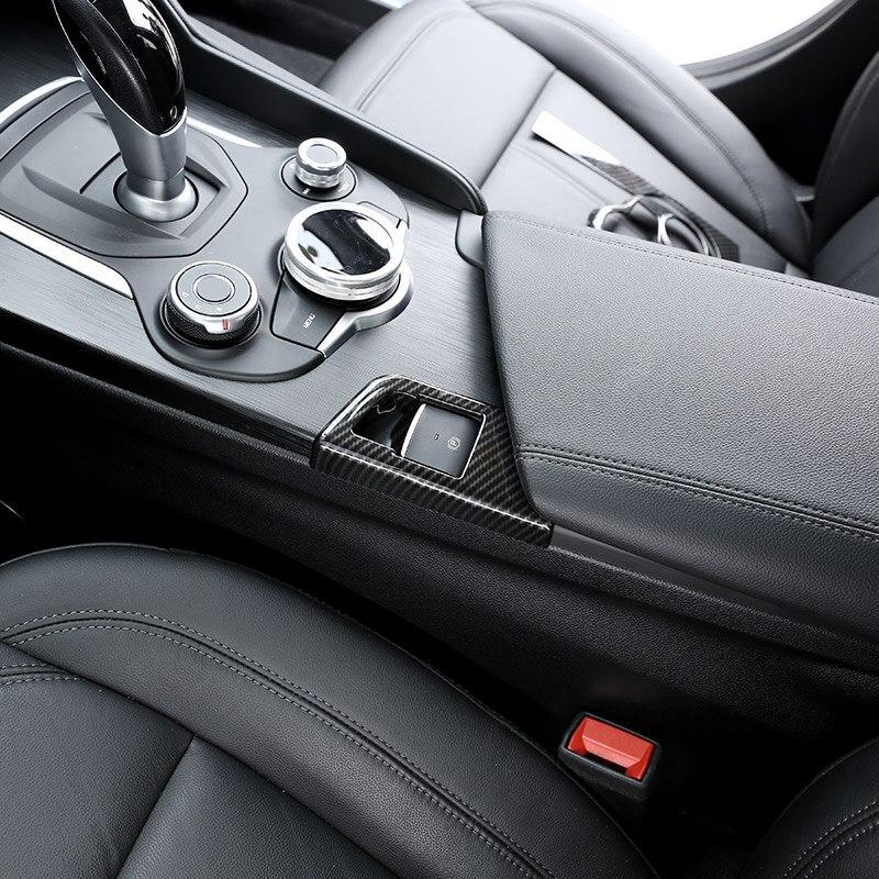 Carbon Fiber Style For Alfa Romeo Giulia 2017 2018 ABS Chrome Electronic Handbrake Decoration Cover Trim