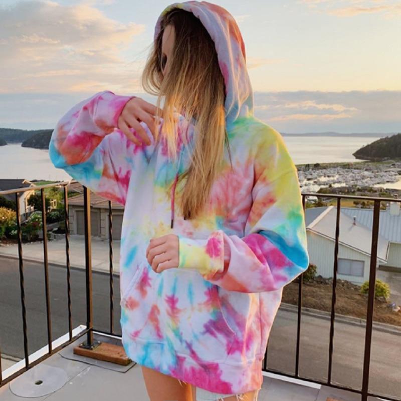 oversized pink Hoodies for Women Fashion Print Sweatshirt loose Long Sleeve Streetwear Women Clothes Hoodie winter 2