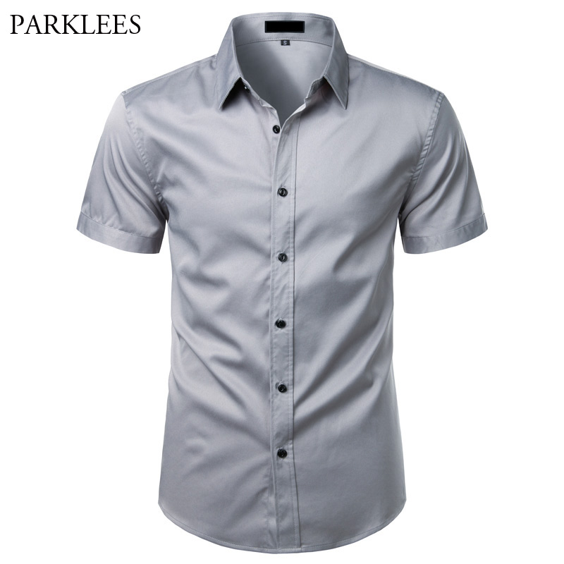 Gray Bamboo Fiber Shirt Men Short Sleeve Solid Color Mens Dress Shirts Casual Slim Fit Summer Chemise Homme Camisa Masculina XXL
