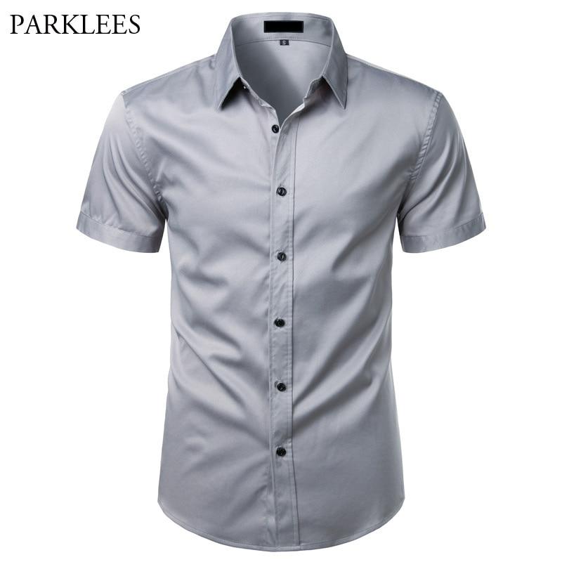 Gray Bamboo Fiber Shirt Men Short Sleeve Solid Color Mens Dress Shirts Casual Slim Fit Summer Chemise Homme Camisa Masculina XXL