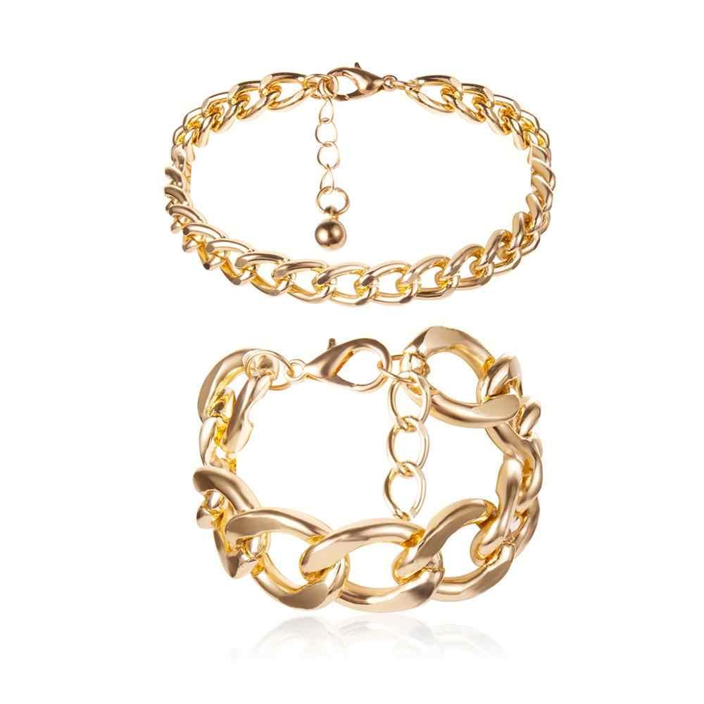 Ingmark 2 pièces/ensemble serpent serrure chaîne Bracelets Bracelets brassard Femme accessoire Mujer Punk épais chaîne Bracelet Couple bijoux 2019