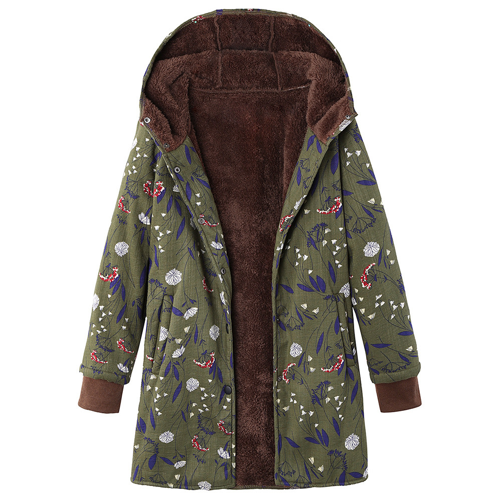 Fashion Women Winter Thick keep Warm Outwear parkas Floral Print Hooded Pockets Vintage Oversize winter jacket Casual long coat