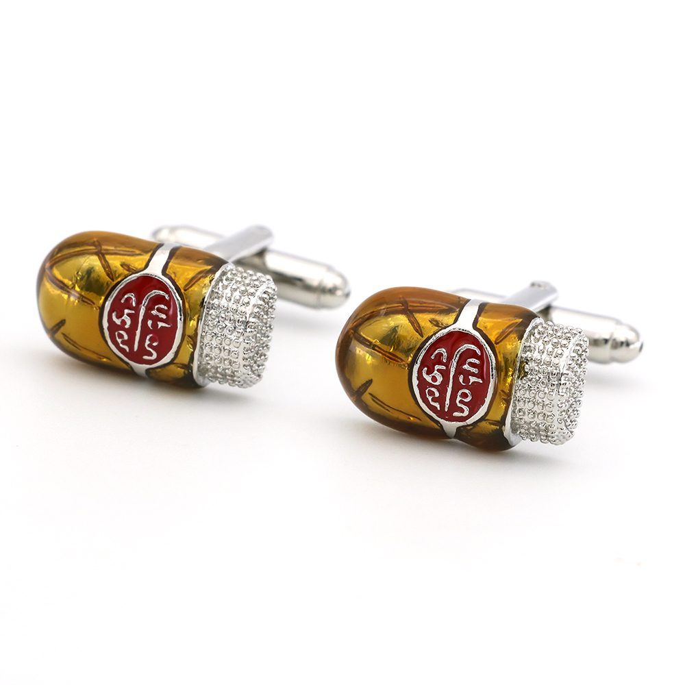 Cigar Cuff Links For Men Novelty Design Quality Brass Material Yellow Color Cufflinks Wholesale&retail
