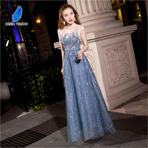 Image 5 - DEERVEADO MXN102 Sexy See Through Long Prom Dresses A Line O Neck Beading Occasion Party Dresses Prom Gown Vestido de Festa
