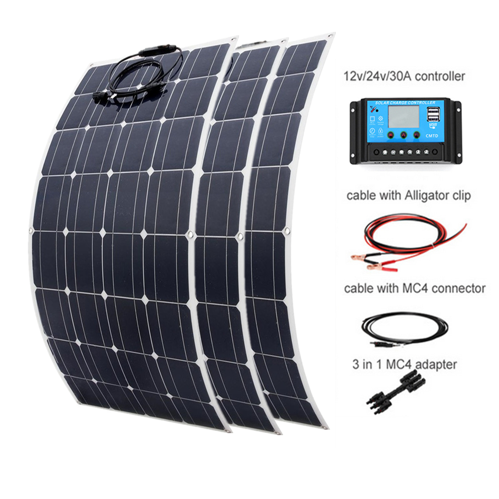100w Flexible Monocrystalline <font><b>solar</b></font> <font><b>panel</b></font> <font><b>300w</b></font> DIY kit 30A Controller cable adapter for 12v <font><b>24V</b></font> battery RV yacht power charge image
