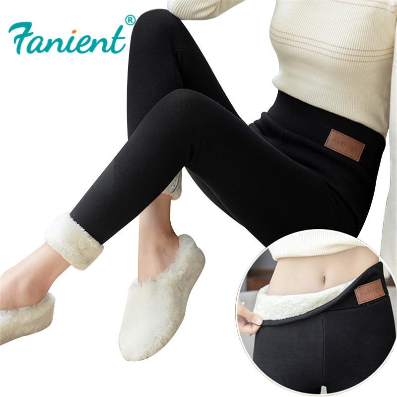Black Warm Pants Winter Skinny Thick Velvet Casual Wool Fleece Trousers Lambskin Cashmere Pants For Women Leggings
