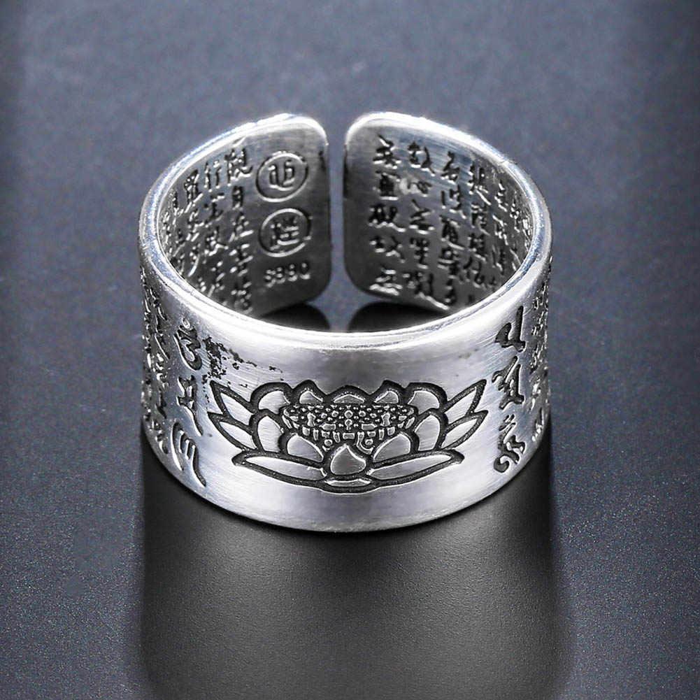 Joyería de Color plateado budista Sutra anillos abiertos para mujeres amantes regalos de aniversario de alta calidad