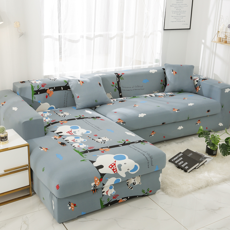 Printed Elastic Sofa Covers for Living Room Armchair Chaise Lounge Cover Stretch Couch Slipcovers L shape