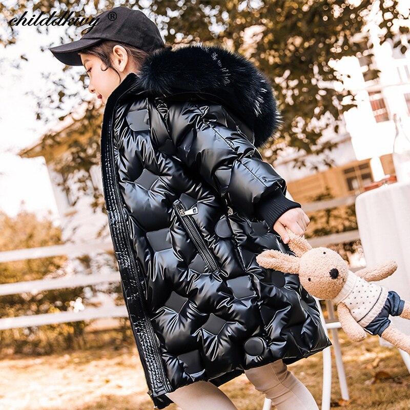 Зимняя Детская куртка-пуховик для девочек, уплотненный зимний комбинезон с мехом для девочек, пальто Модное детское пальто для девочек, дет...