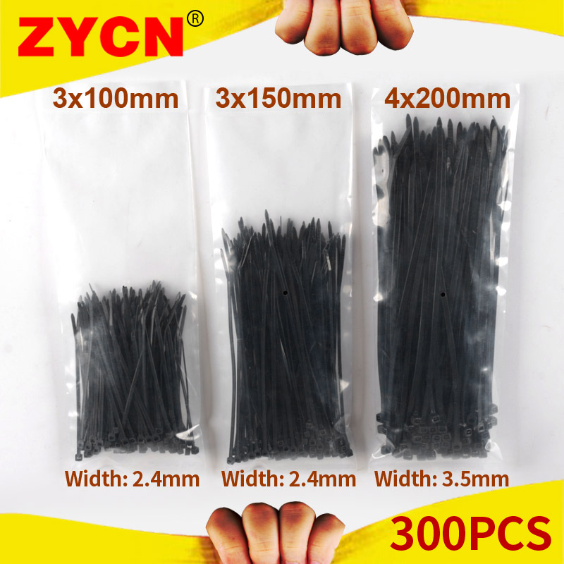 ZYCN 300pcs Plastic Self-locking Cable Tie Set  3*100 3*150 4*200mm