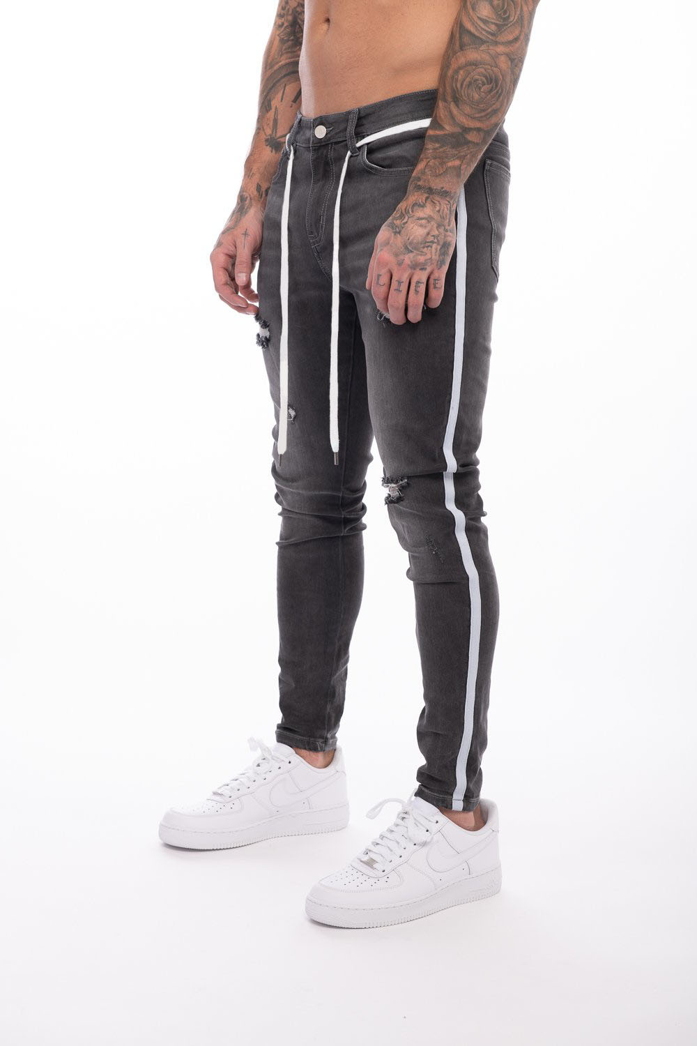 Mens Side Stripe Skinny Fit Black Denim Jeans