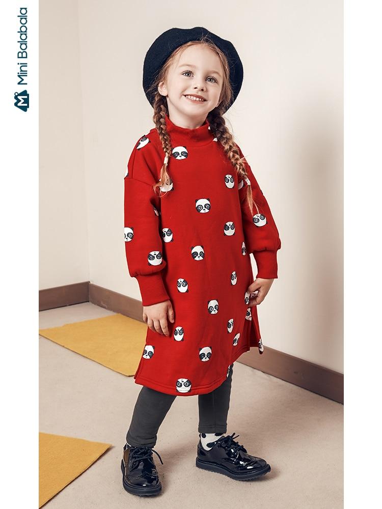 Minibalabala Children dress girls long 2019 winter new plus velvet warm girls baby dresses cartoon cotton long sleeve