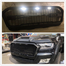 цена на White LED Modified Front Mesh Race Mask Cover Honeycomb Grill Grids FIT For RANGER T7 RAPTOR XLT 2015-2017 Grille Pickup Parts