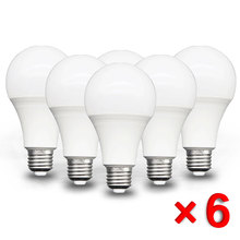 6 шт./лот E27 светодиодный лампы AC 220V SMD2835 3W, 6 Вт, 9 Вт, 12 Вт, 15 Вт, 18 Вт, 20 Вт, светодиодный энергосберегающие лампы холодный теплый белый светодиодный лампы для напольный светильник
