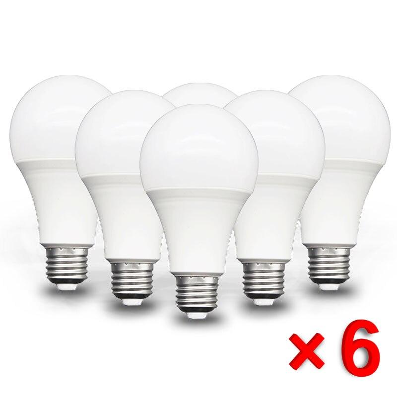 Светодиодная лампа E27 SMD2835, 6/6/9/12/15/18/20 Вт, 220 В переменного тока
