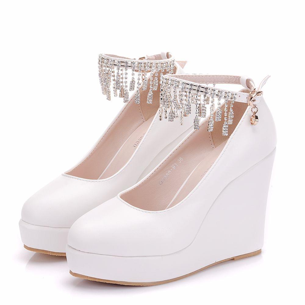 Crystal Quee Rhinestone Elegant Heels Wedges Shoes Pumps  Women High Heels Platform Wedding Shoes  Ankle Strap