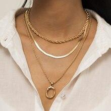 Estilo punk três camadas torção plana cobra corrente gargantilhas colares simples feminino geométrica pingente redondo colar jóias presentes