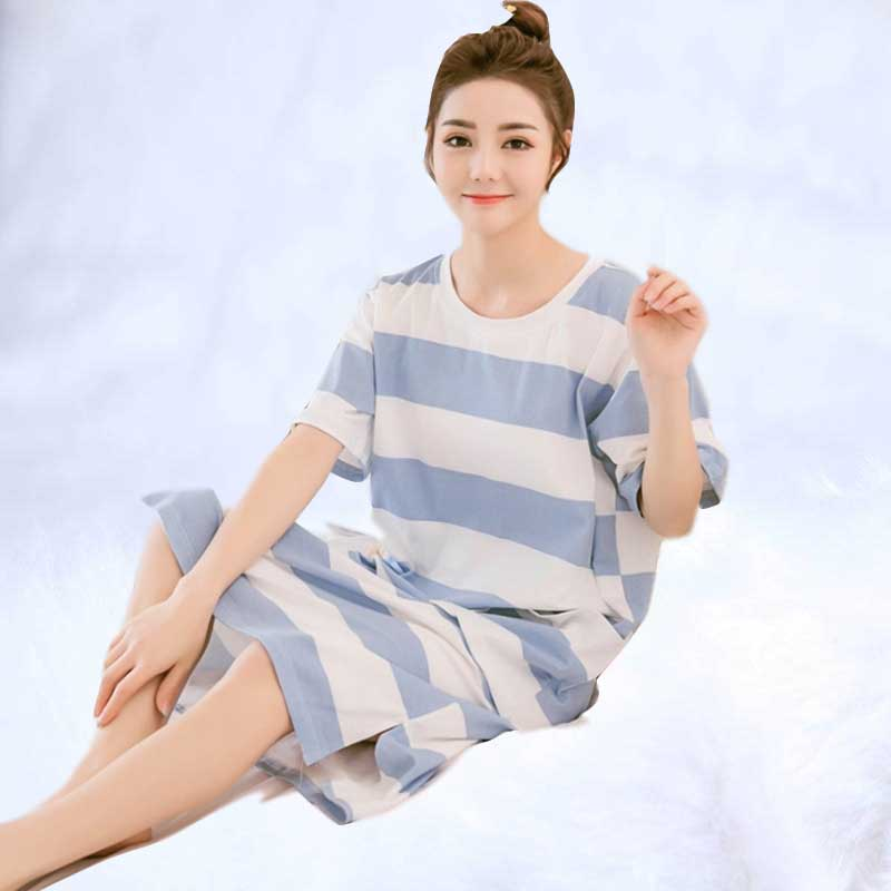 2019 Women   nightgown   Hot cotton striped   sleepshirt   short sleeved sleepwear female pyjamas girls nightdress summer