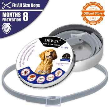 Dewel todo o gato colar do cão anti pulga carrapatos mosquitos ao ar livre coleiras ajustáveis protetoras do animal de estimação 8 meses proteção a longo prazo