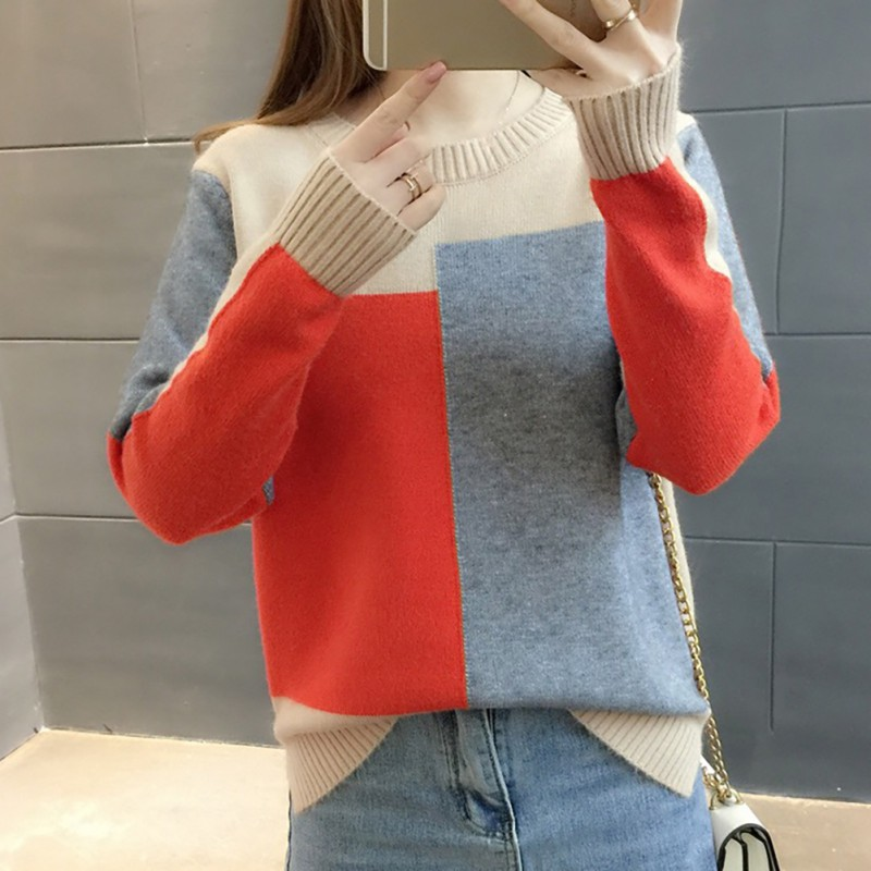 Women Autumn Candy Color Sweater Round Collar Colorblock Long Sleeve Knit Top Multicolor with Splicing Thin Tops Sweaters