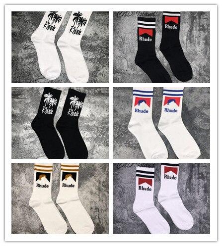 20ss Rhude Socks Coconut Trees Cigarette Case Rhude Socks Women Men Unisex 100% Cotton Basketball Kanye West Socks