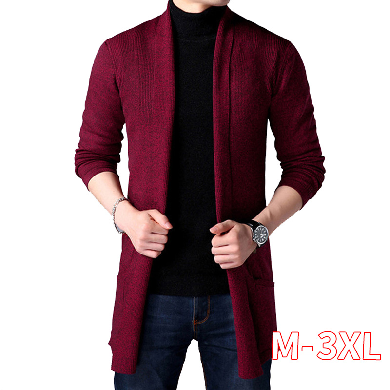 X-long Knit Sweater Men Long Style Cardigan Man Spring And Autumn Long Thin Coat Solid Color Sweatercoat Wine Red
