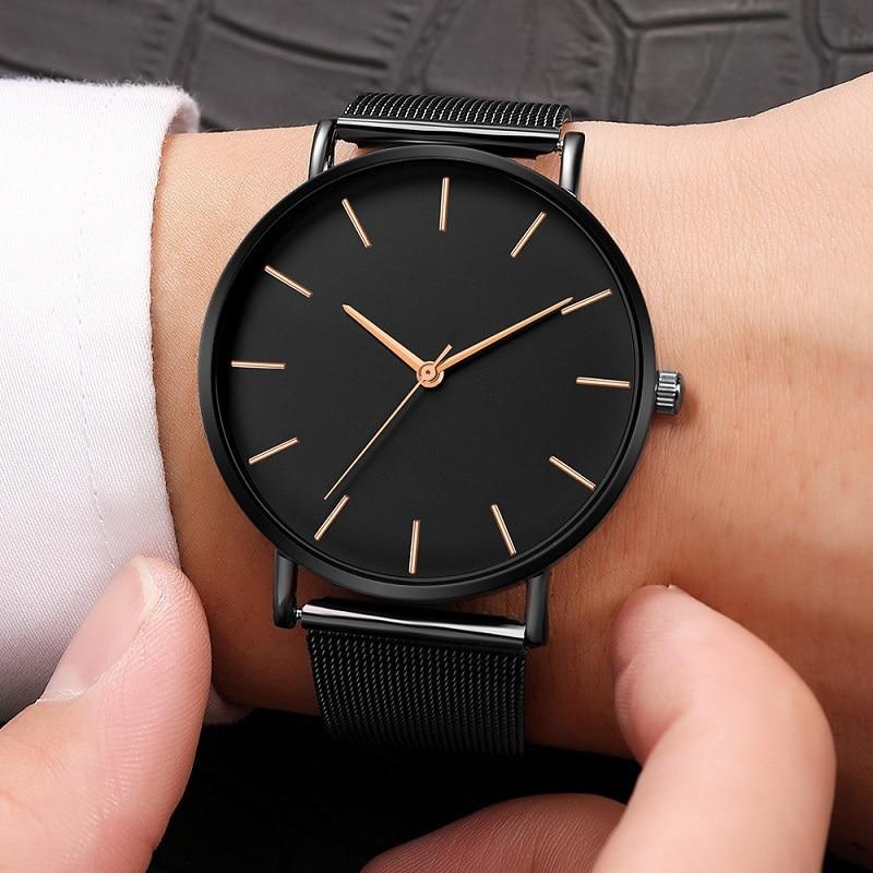 Relojes Hombre 2019 Watch Men Bracelet Casual Ultra-thin Stainless Steel Black Quartz Wrist Watch Male Clock Relogio Masculino