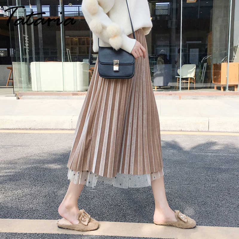 Tataria Polka Dot Pleated Skirt Velvet High Waisted Long Skirts Women's Maxi Skirt Women Skirts Fashion 2019 School Skirt Jupe