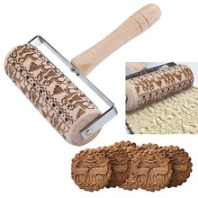 цены Christmas Embossing Rolling Pin Engraved Embossed Wooden Rolling Pin For Baking Flower Snowflake Reindeer Pattern Cookies Tool